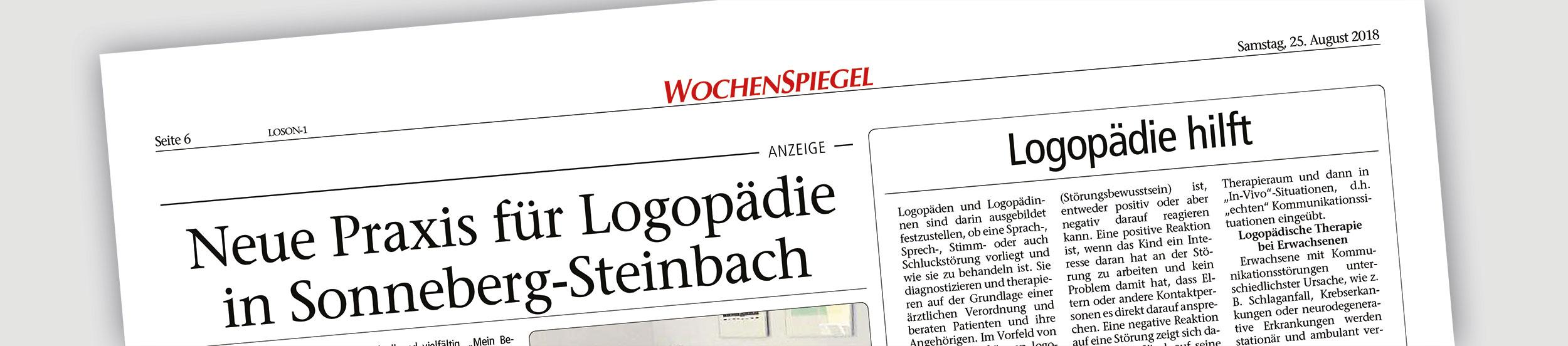 Neue Praxis für Logopädie in Sonneberg Steinbach - Wochenspiegel